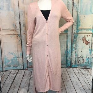 H by HALSTON Light Pink Long Duster Cardigan